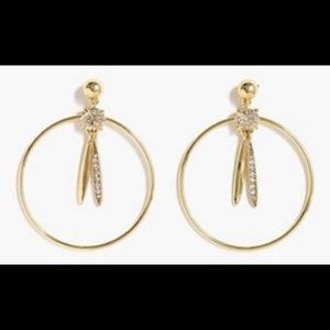 J Crew gold and rhinestone hoop earrings